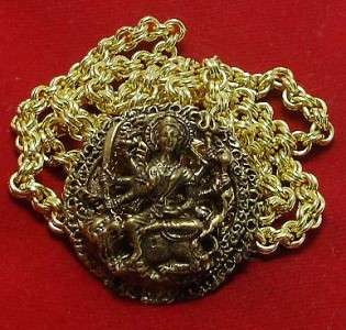 DURGA UMA DEVI KALI AMULET PENDANT GOLD PLATED NECKLACE