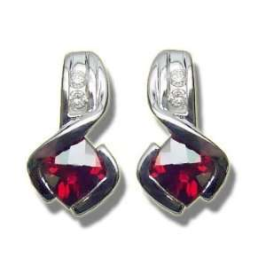 .10 ct 5mm Checkercut Garnet White Gold Earring Jewelry