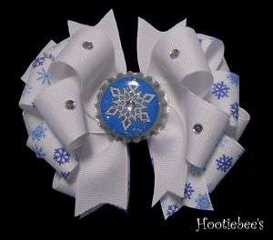 Snowflake Boutique Bottlecap Hair Bow with Rhinestones