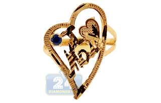 10K Yellow Gold Blue CZ Crystal I Love Mom Womens Heart Ring