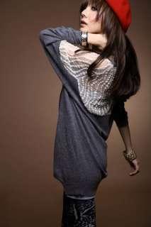 Loose Long Splicing Lace Tops Shirt Super Mini Dress S460#