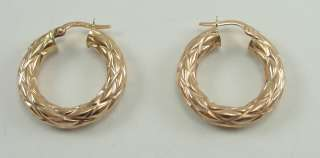 14K Rose Gold Hoop Earrings Italy Textured Hollow Milor