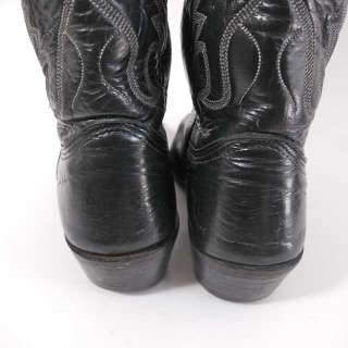 Vtg Nocona Texas Black Leather Western Cowboy Boots 8 D
