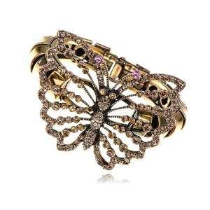 Topaz Crystal Rhinestone Gold Tone Butterfly Insect Bug