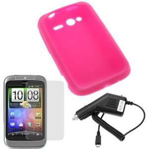 GTMax Hot Pink Silicone Skin Cover Case + Clear LCD Screen