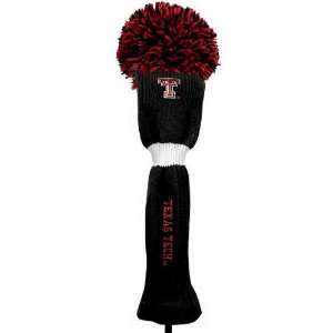 NCAA Texas Tech Red Raiders Black Pompom Golf Club Headcover