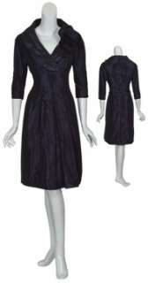 TERI JON Navy Pleated Taffeta Rosette Eve Dress 8 NEW