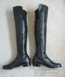 STUART WEITZMAN 5050 Over the Knee Boot Size 8.5 N Black Nappa Leather