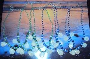 ASST GLASS & SHELL TEAR DROP WHOLESALE NECKLACE LOT (6)