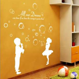 and girls blowing bubbles Vinyl Wall Paper Decal Art Sticker