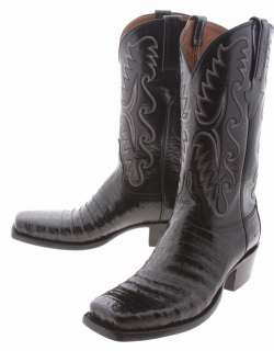 Lucchese Classics Black E2147 D3 Caiman Crocodile Belly Mens Cowboy