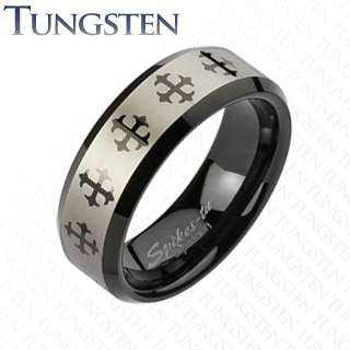 Carbide Black IP Multi Cross comfort fit wedding band mens ring