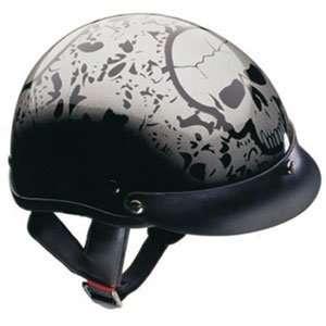 Extra Large DOT Silver Motorcycle Beanie Half Helmet Automotive