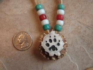 Deer Antler Choker Necklace Carved Wolf Deer Tracks Glass Pony Beads