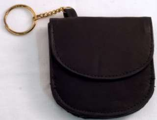 Mens Black Leather TAXI CABBIE Mini WALLET w/ Key Chain Ring & COIN