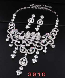 Rhinestone Crystal New Necklace Earring set Wedding Bridal