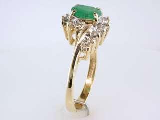Genuine Emerald Diamond 1.20ct Yellow Gold Engagement Wedding Ring
