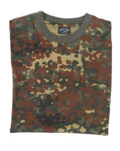 Flecktarn Camouflage Military T Shirts Army Camo Tops