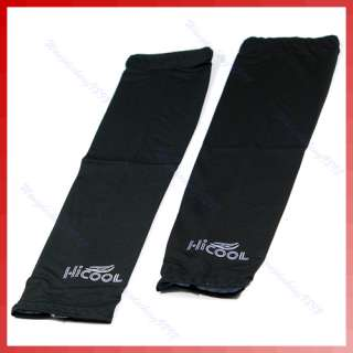 Pair Cooling Arm Sleeves Cover UV Sun Protection Blac
