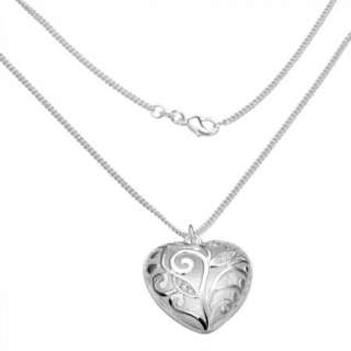 Silver Plated Crystal Fashion Heart Necklace N224