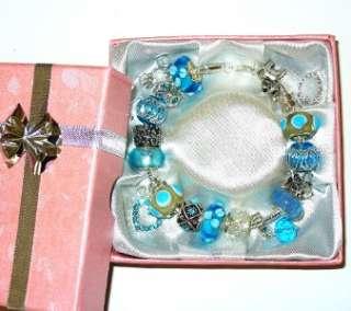 SILVER EUROPEAN LOBSTER BRACELET BLUE FAIRY &GIFT BOX