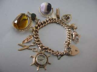 Gold Albert Charm Bracelet 10 Charms Blue John Compass Citrine