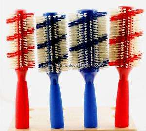 1PC 100% Boar Bristle Barrel Brush Comfort Grip Handle