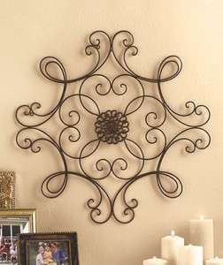 NEW~ 24 1/2 Black Square Scrolled Metal Iron Wall Medallion Art