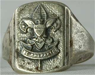 VINTAGE STERLING SILVER BOY SCOUT RING SIZE 7
