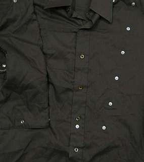 vtg Panhandle BROWN BIB WESTERN shirt S 14 33/34 cowboy 80s snaps