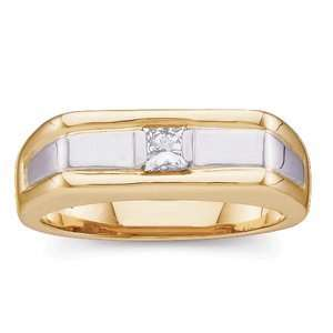 14K Yellow Gold Diamond Mens Ring: Jewelry