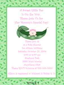 Pea Pod Baby Babies Sweet Pea Shower Invitations