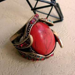 Fashion Vintage Red Corallite Rhinestone Retro Ring HOT L9901