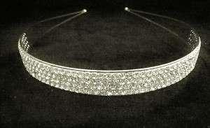 Bridal Crystal Wedding Hair Jewelry Accessory Silver Plated Tiara 4