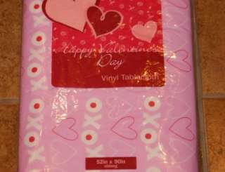 Valentines Day Vinyl Tablecloth Hearts Red Pink   7 Styles  8 Sizes U