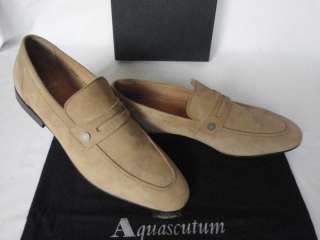 Aquascutum Tan Suede Penny Loafer Shoes UK 9.5 RARE