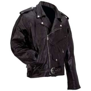 Mens Black Leather Motorcycle Biker Jacket Coat S M L XL 2XL