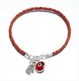 Red String Bracelet Sterling Silver Hamsa & Evil Eye