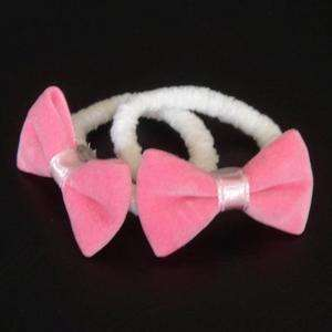 Lt Pink Velvet Ribbon Bow Elastic Hair Ties Free Ship