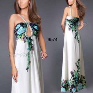 Printed Crystal Beads Padded Chiffon Rhinestones NWT Prom Gown 09574