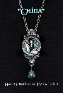 Gothic Teal Retro Flower Fairy NECKLACE pendant China
