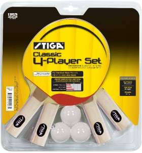 NEW Stiga Classic 4 Player Table Tennis Racket Set