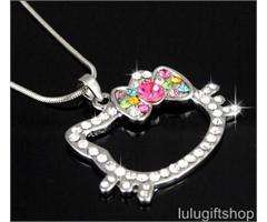 Hello Kitty Larger Crystal Pendant Necklace Xmas Gift