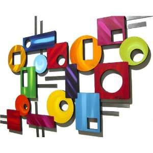 Colorful Abstract Geometric Wood Art Wall Decor Sculpture