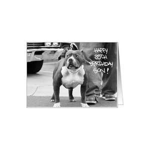 Happy 25th Birthday Son PitBull Dog Card: Toys & Games