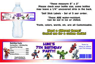 Super Hero Squad ~ Printed Water Bottle Labels ~ Birthday Party Favors
