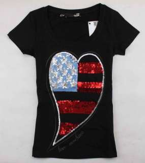 Womens/Girls Beads Stars Strips Heart Cute T Shirt/Top White/Black