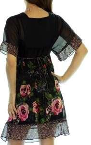 XHILARATION SHEER BLACK FLORAL DRESS XS S M L XL XXL