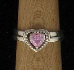 Sterling Silver Pink Ice Heart Jacket Ring sz 5, New