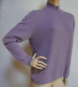 100%Cashmere Lavender Cable Knit Sweater Sz L